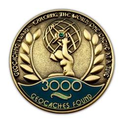 Geo Award Geocoin - 3000 Finds Front