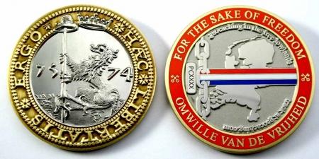 Haec Libertatis Ergo Geocoin Antique Bronze / Silver XLE