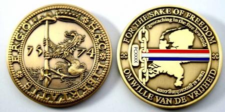Haec Libertatis Ergo Geocoin Antique Gold