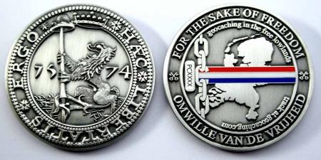 Haec Libertatis Ergo Geocoin Antique Silver