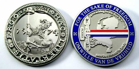 Haec Libertatis Ergo Geocoin Antique Silver / Nickel XLE