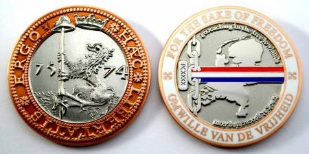 Haec Libertatis Ergo Geocoin Antique Copper / Silver XLE
