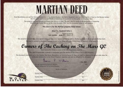 Caching on the Mars Geocoin Eigentümer Zertifikat