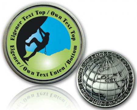 T5 Geocoin mit deinem Text / grün
