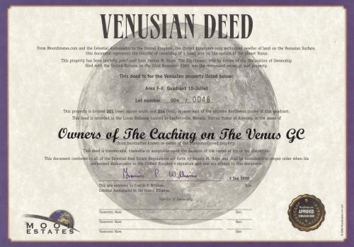 Caching on the Venus Geocoin Zertifikat