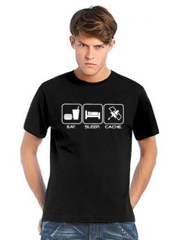Geocaching T-Shirt Eat. Sleep. Cache schwarz