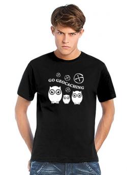 Geocaching T-Shirt | Go Geocaching - Birds schwarz - weisser Aufdruck