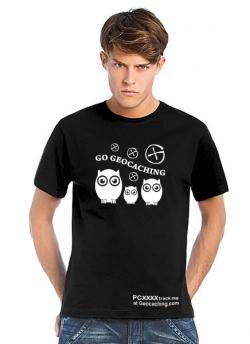 Geocaching T-Shirt | Go Geocaching - Birds schwarz trackbar