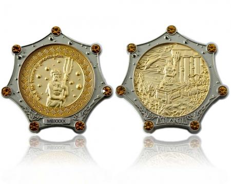 Atlantis Geocoin Silber / Gold LE