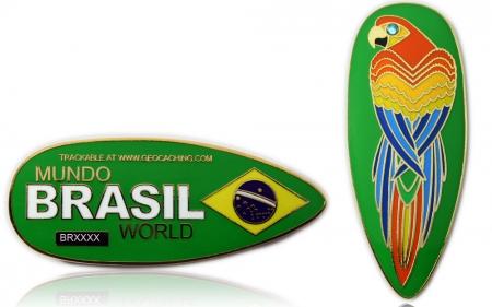 First Brazil Geocoin Poliertes Gold XLE