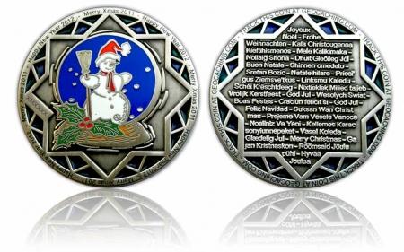 Weihnachten 2011 Geocoin Antik Silber LE