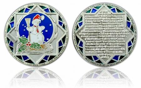 Weihnachten 2011 Geocoin Satin Silber XLE