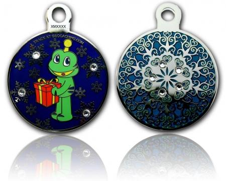 Signal Christmas Geocoin Poliertes Silber Smaragd RE