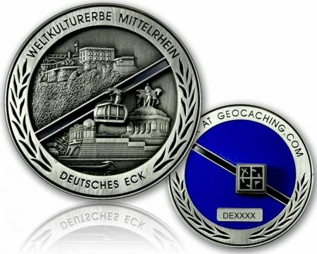 Deutsches Eck Geocoin Antik Silber RE
