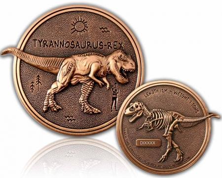 Dino Geocoin - Tyrannosaurus Rex Antik Kupfer XLE 75