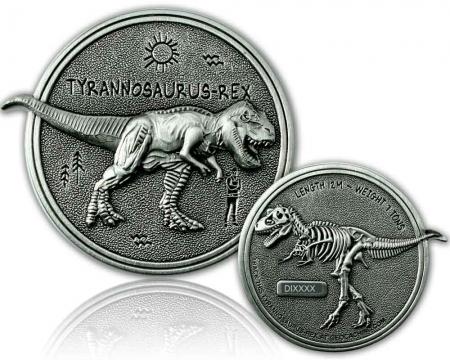 Dino Geocoin - Tyrannosaurus Rex Antik Silber XLE 75