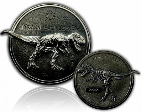 Dino Geocoin - Tyrannosaurus Rex Black Nickel  XLE 75