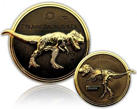 Dino Geocoin - Tyrannosaurus Rex Gold / Black RE