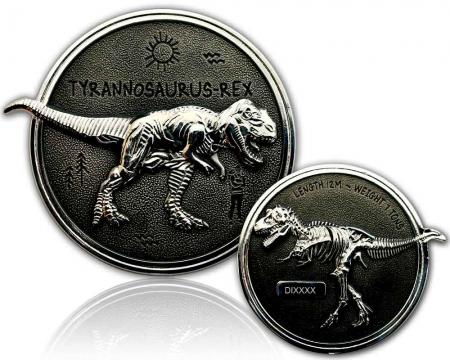 Dino Geocoin - Tyrannosaurus Rex Silber / Black RE