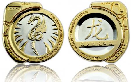 Dragon Geocoin Poliertes Silber / Poliertes Gold XLE