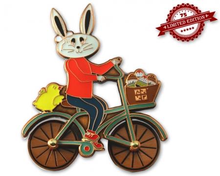 Easter Bunny Fahrrad Geocoin Antik Kupfer XLE 75