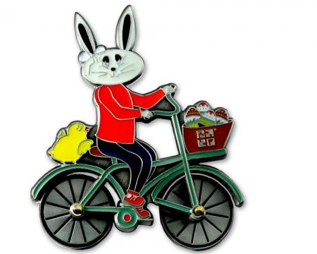 Easter Bunny Fahrrad Geocoin Antik Silber RE