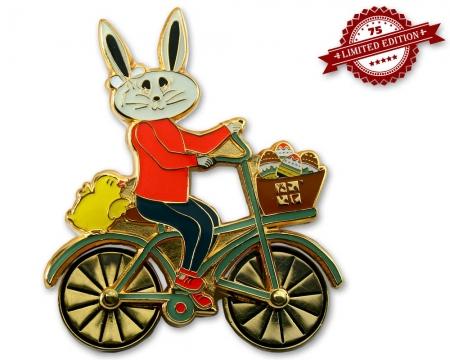 Easter Bunny Fahrrad Geocoin Poliertes Gold XLE 75