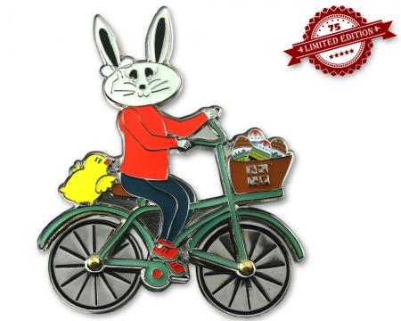 Easter Bunny Fahrrad Geocoin Poliertes Silber XLE 75
