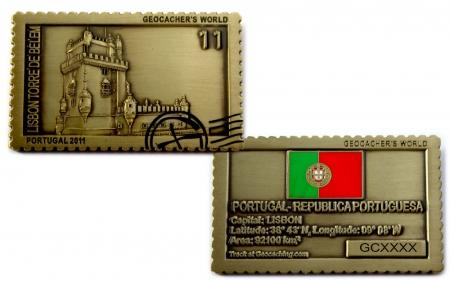 Geocachers World Geocoin Portugal Antik Gold RE