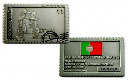 Geocachers World Geocoin Portugal Antik Silber RE
