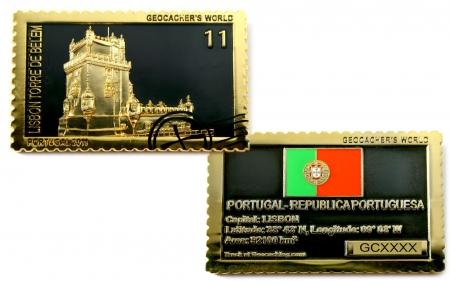 Geocachers World Geocoin Portugal Black Nickel / Gold LE