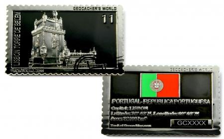Geocachers World Geocoin Portugal Black Nickel / Silber LE