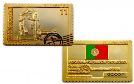 Geocachers World Geocoin Portugal Satin Gold LE