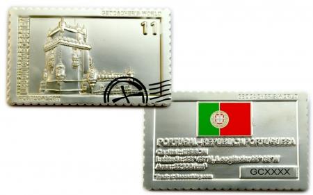 Geocachers World Geocoin Portugal Satin Silber LE