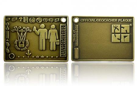 Geocacher Plaque Geocoin Antik Gold XLE