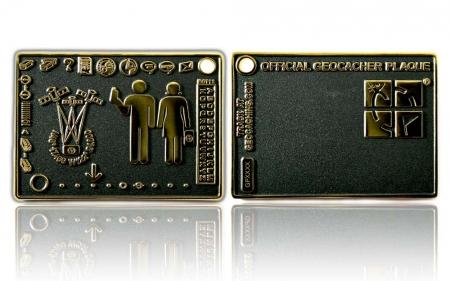 Geocacher Plaque Geocoin Black Nickel / Gold RE