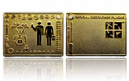 Geocacher Plaque Geocoin Poliertes Gold XLE
