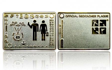 Geocacher Plaque Geocoin Satin Silber / Gold RE