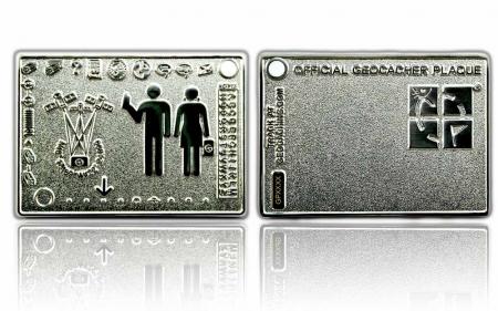 Geocacher Plaque Geocoin Poliertes Silber XLE