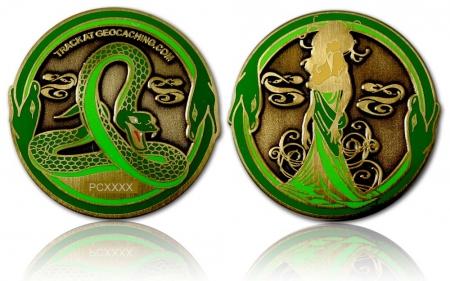 Green Mamba Geocoin Antik Gold LE