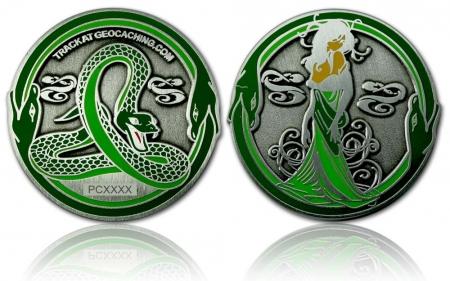 Green Mamba Geocoin Antik Silber RE