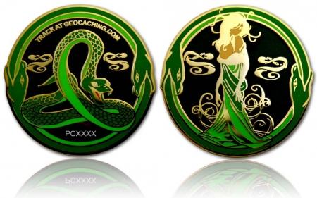 Green Mamba Geocoin Black Nickel / Gold RE