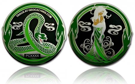 Green Mamba Geocoin Black Nickel / Silber XLE