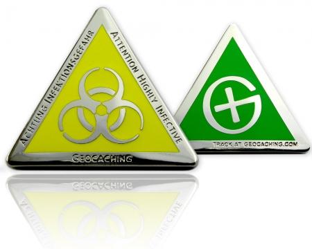 Highly Infective Geocoin Poliertes Silber Grün XLE 75