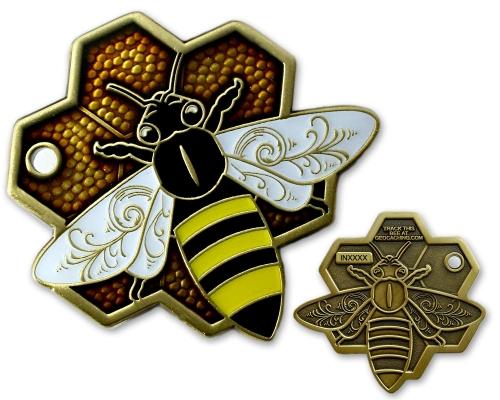 Travel Bee Geocoin Antik Gold