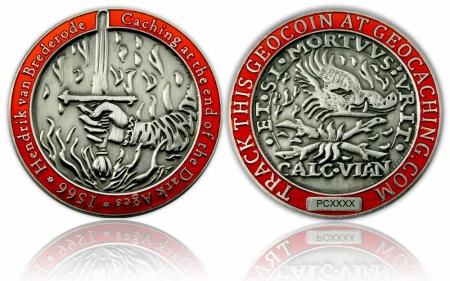 Medieval Caching Geocoin Antik Silber