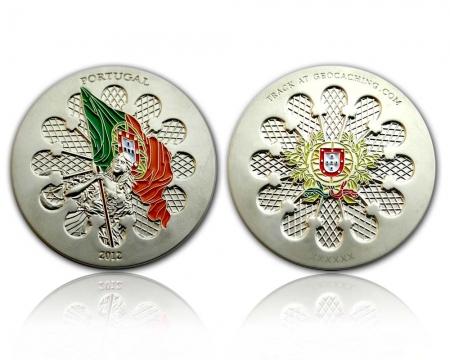 Portugal 2012 Geocoin Satin Silber XLE