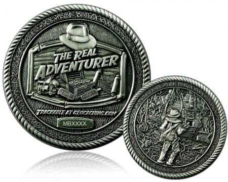 The Real Adventurer Jungle Geocoin Antik Silber RE