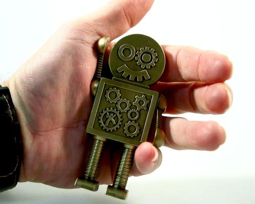 Extra Großer Steampunk Robot Geocoin