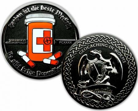 Cachen ist die beste Medizin Geocoin Black Nickel / Silber XLE 75